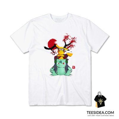 Pokemon Pikachu And Bulbasaur Mashup Naruto T-Shirt